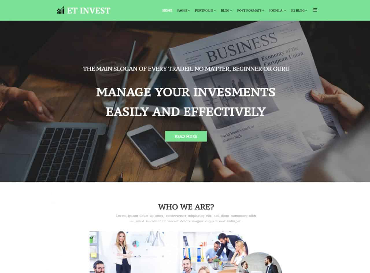 10 best free responsive joomla templates 2018 et invest is one of the best free business joomla template from engine templates this template comes with 4 colorful layouts you can choose any layout you cheaphphosting Image collections