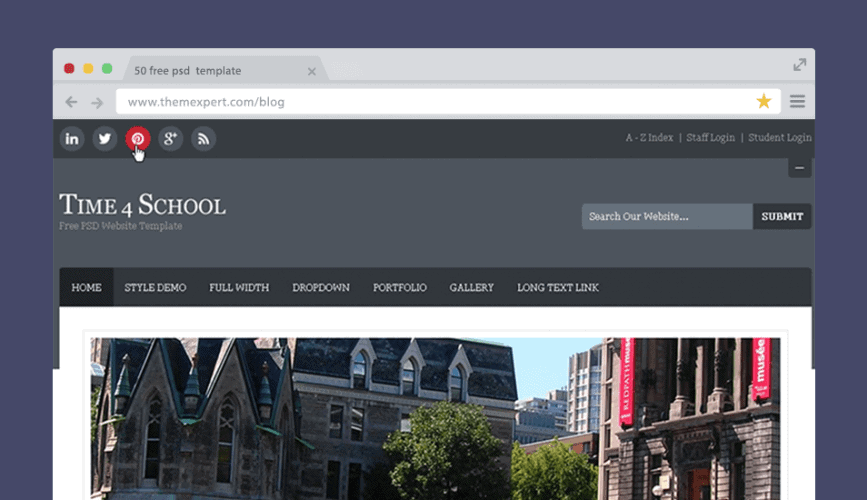 50 free psd website templates for corporate education lms blog