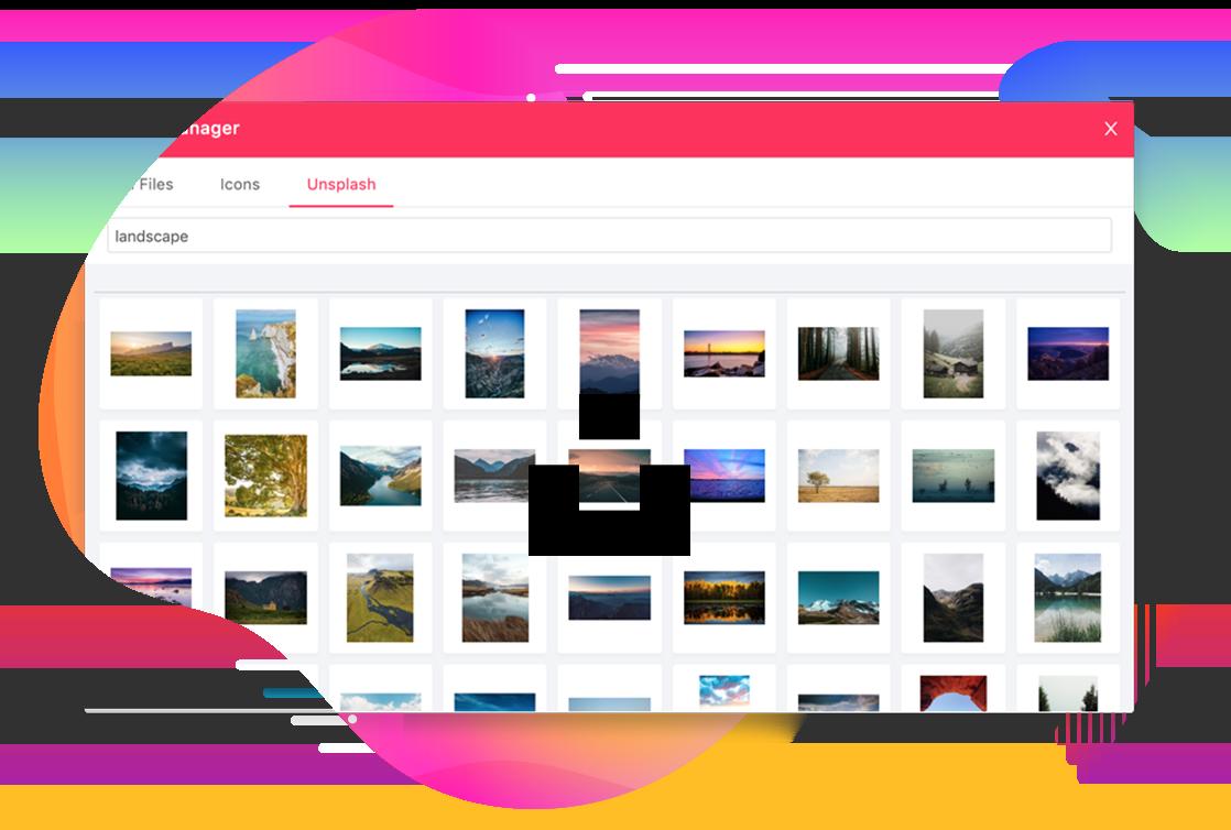 Joomla media manager with Unsplash integration