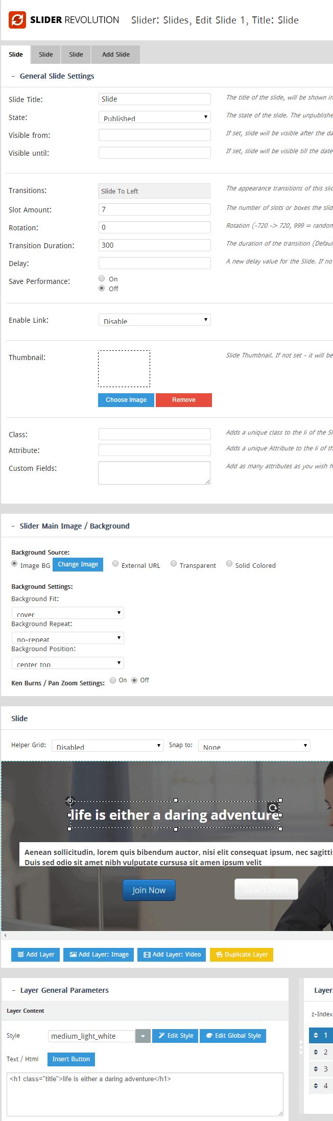 Revolution Slider component settings