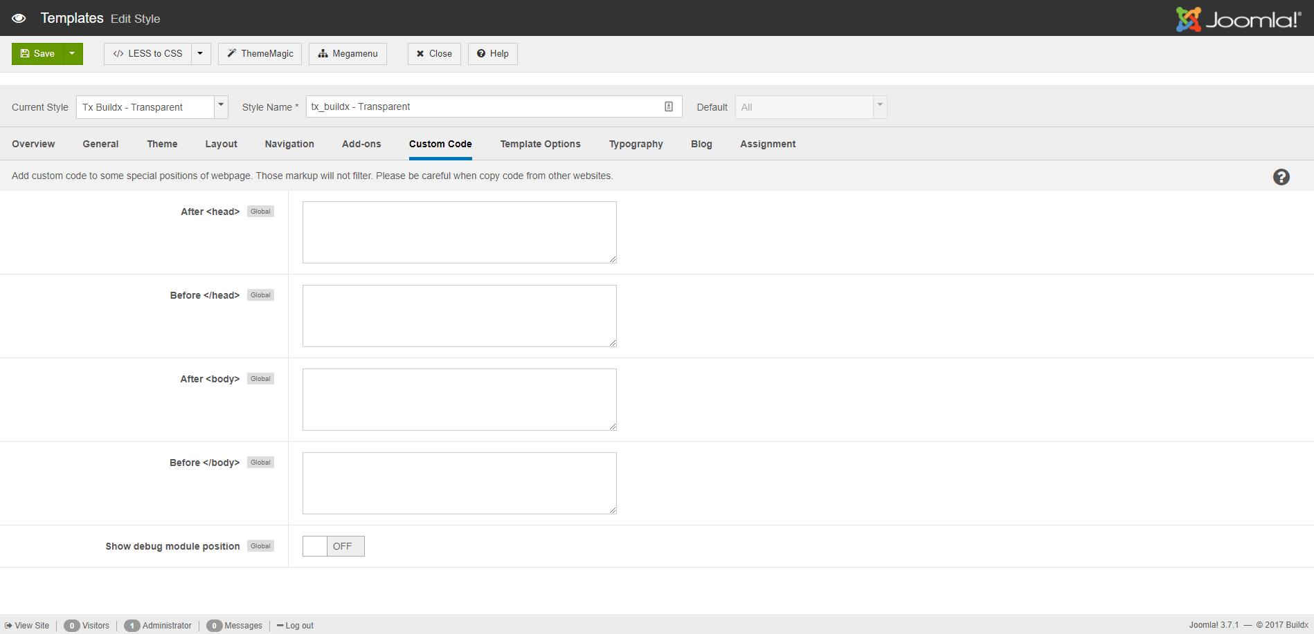 Custom Code Settings