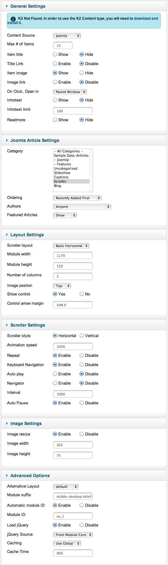 xpert scroller settings
