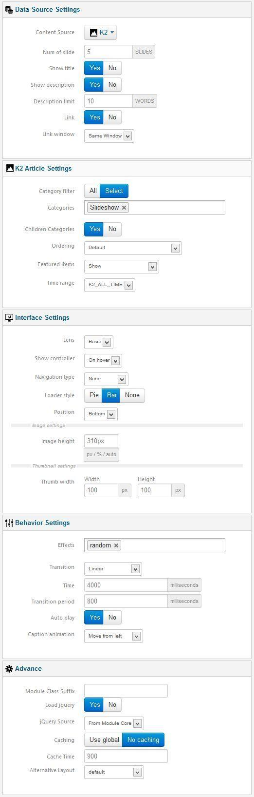 xpert slider settings