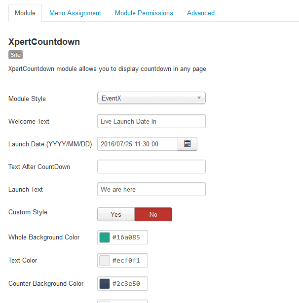 Xpert Countdown settings