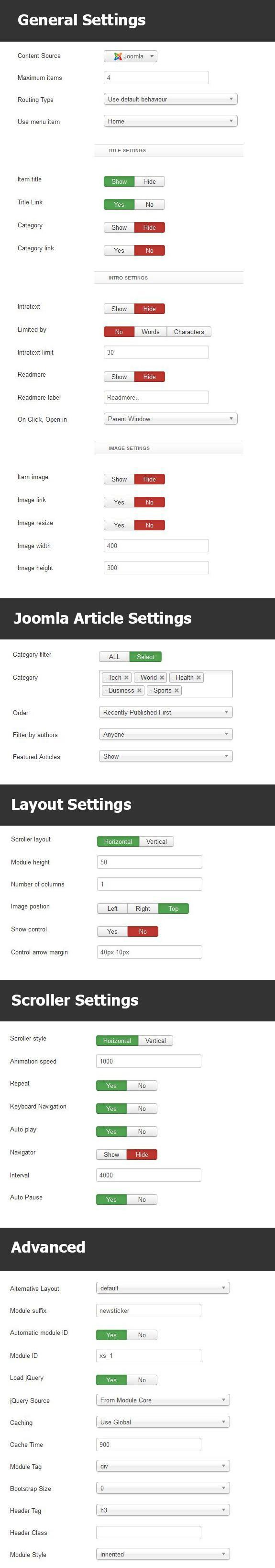 Newsticker Module Settings