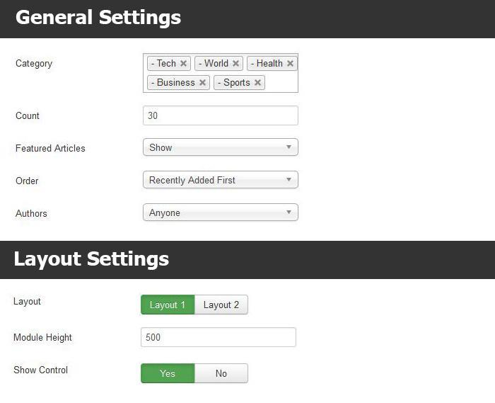 TX Grid Slider settings