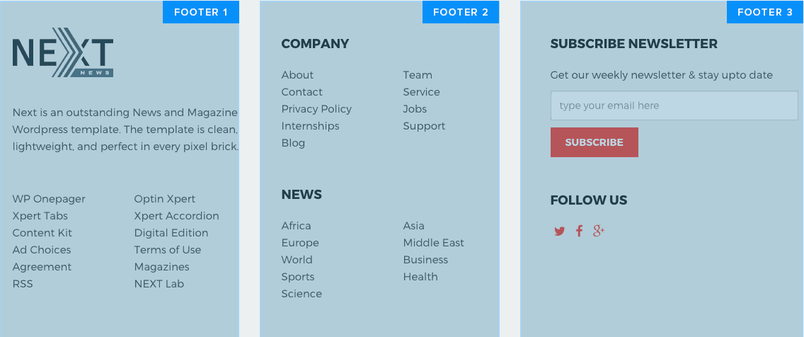Footer section