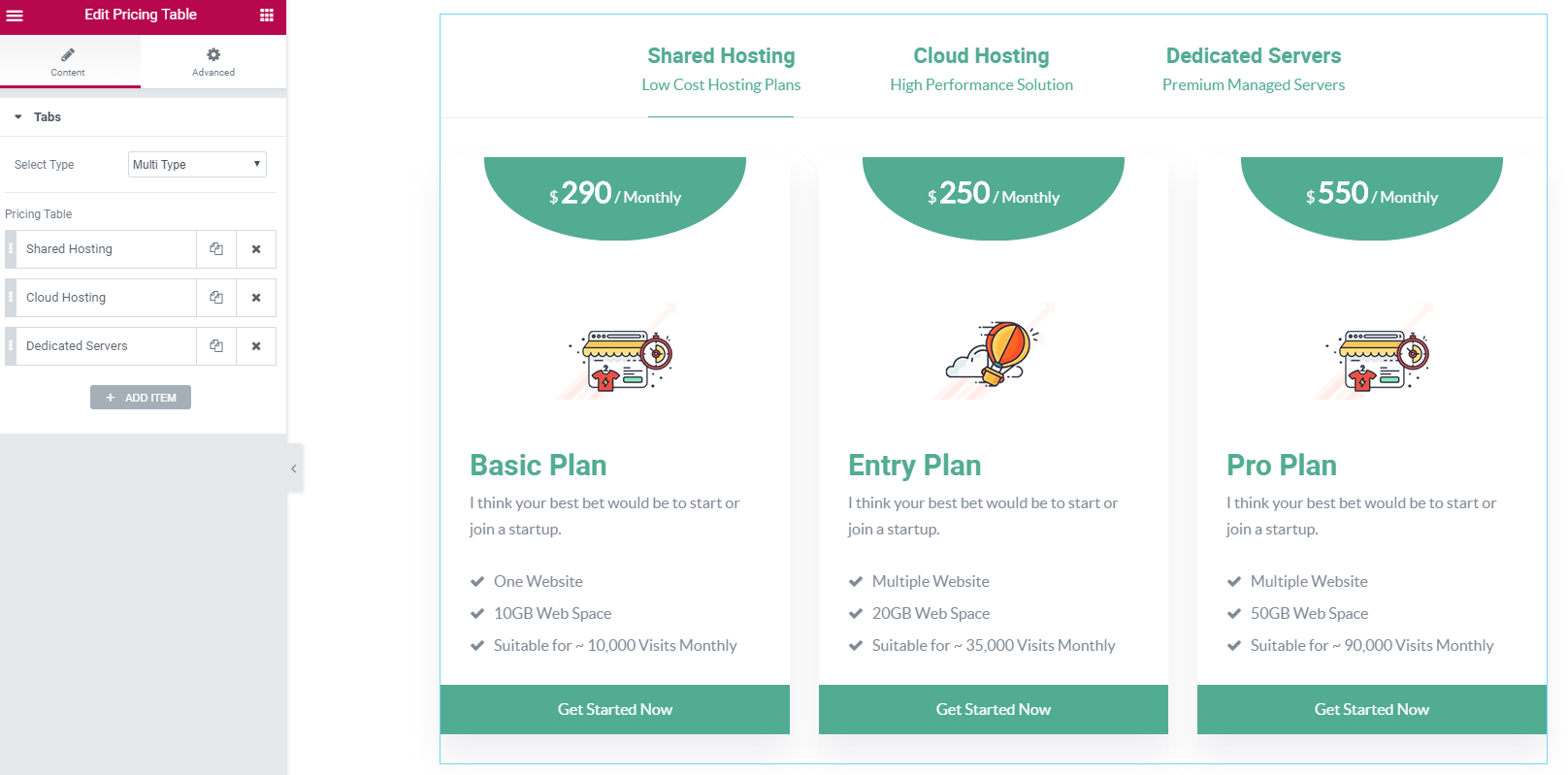 uHost Pricing Table